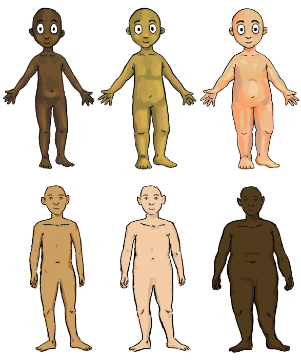 Example of different MyGender Dolls body choices. Six bodies are seen which vary in skin tone and size.