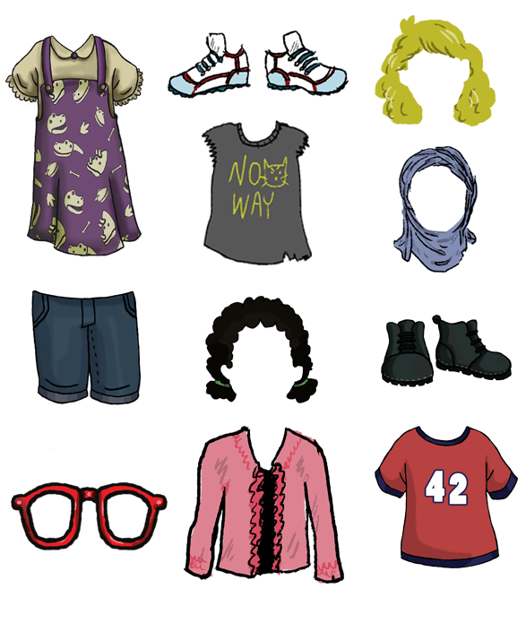 A sample of clothing, hair, and accessory options for MyGender Dolls.